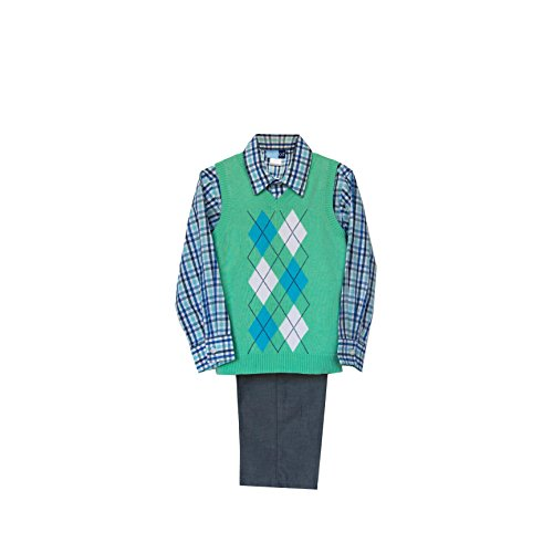 Good Lad Arygle Sweater Vest Set with Chambray Pant (2T, Green) ()