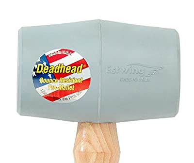 Estwing Deadhead Bounce Resistant Gray Rubber Mallet with Hickory Handle and Soft Face