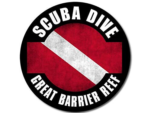 (American Vinyl Round Distressed Scuba Dive Great Barrier Reef Sticker (Australia Decal Diving Diver))