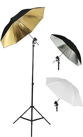 Kit de soporte para flash paraguas para estudio fotográfico (Tres paraguas por Fancier Ventilador UB1