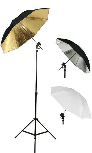 Photography Photo Studio Flash Mount Umbrellas Kit Three Umbrellas By Fancier Fan UB1 (Flash Shoe Umbrella Kit)