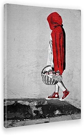 Giallo Bus - Cuadro - Prensa Sobre Tela Canvas - Banksy - Cappuccetto Rosso - 70 X 100 Cm