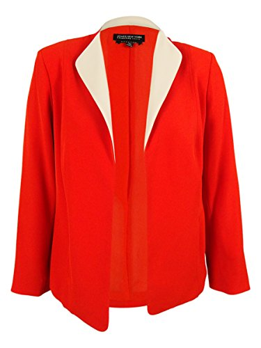 Jones New York Women's Plus-Size Soft Woven Jacket, Red Coral, 16W