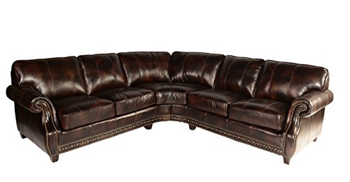 Lazzaro Leather WH-1317-31-32-9011B Anna Collection Leather Sofa Sectional, Buckeye For Sale