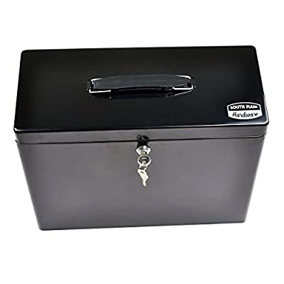 South Main Hardware 810175 Lockable steel Security Filing Box, Large, Black