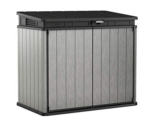 (Keter 237831 Elite Outdoor Storage Shed, Grey/Black)
