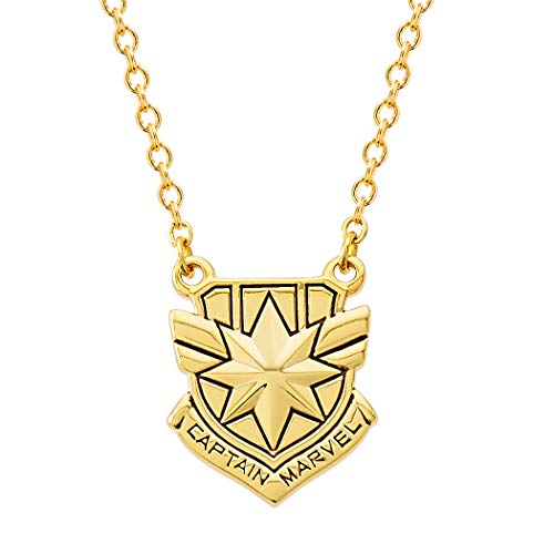 Marvel's Captain Marvel Shield Yellow Gold Plated Necklace, 18