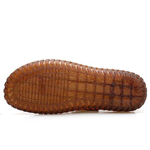 deportes Sandalias hombre ajustables para de antideslizante cuero respirable Sandalia para para de de cuero hom de Yellow verano pescador y ocio Zapatillas adecuadas Sandalias interior de exterior playa de w7nxT7