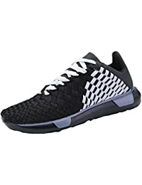 Men's Low Top Athletic Sneaker Fahion Casual Breathable Lightweight Sports Running Shoes for Boy (White, Black)