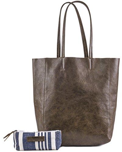 - Women's Vintage Genuine Leather Tote Shoulder Bag - Large Capacity Travel Handbag