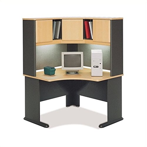 Advantage Series Computer Desk - Bush Furniture Advantage Series Corner Computer Desk with Hutch in Beech and Gray
