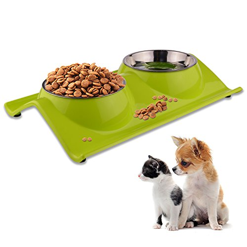 LOVE'S Dog Bowls Pet Food Bowl Raised Cat Puppy Bowls No Spill Elevated Eating Feeding Dog Bowl Set Water Feeder for Small Animals No Tip Stainless - Inch Puppy 15 Dish