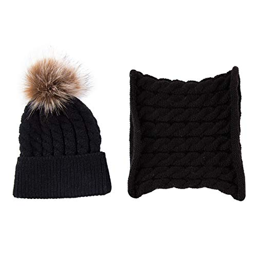 e4a28acdc9bae1 DRESHOW BQUBO 2 Pack Baby Winter Knit Hat Toddler Crochet Hat with Necklace  Children抯 Pom