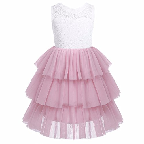 iEFiEL Girls Lace Mesh Tiered Flower Girl Dress Princess Pageant Wedding Bridesmaid Gown Dusty Rose 6 Tiered Mesh Dress