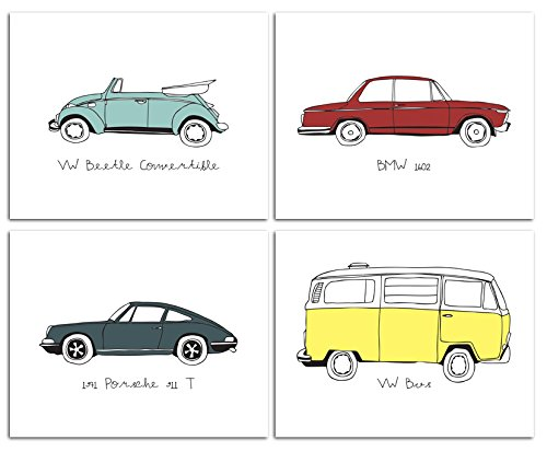 "8""x10"" Vintage Cars Nursery Prints for Baby and Children Room Decor & Decorations Perfect for Baby Shower Gift Ideas"