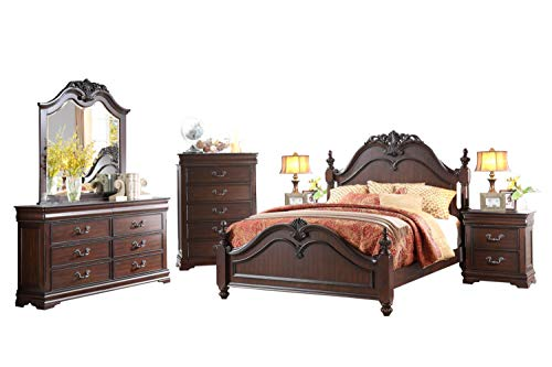 Momeyer French Country 6PC Bedroom Set E King Poster Bed, Dresser, Mirror, 2 Nightstand, Chest in ()