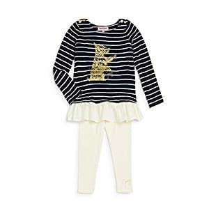Juicy Couture Girls Dog Logo Striped Top Shirt & Leggings Set (4 4T)