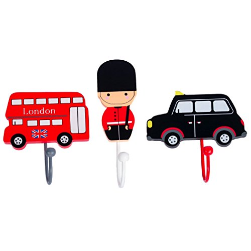 Handcrafted Wooden London Bus Taxi Guard Coat Hooks Hangers Pegs by Tinkie Toys, Room Decor for Kids Girls Boys Bedroom