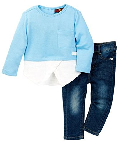 7 For All Mankind Baby Girls' 2 PC. Denim Jean Pants Clothing Set, Blue-Size 12M