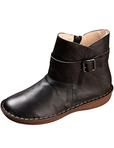 Flats Rubber Women's Boots Style 3 Zoulee Shoes Toe Leather Round Black n6axq4B