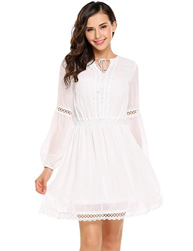 Lace Dress Flounce (Cidere Women Sexy Lace Dress Ruffled Collar Long Sleeve Flounce Dress)