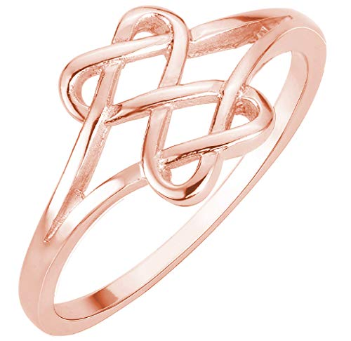 (CloseoutWarehouse Rose Gold-Tone Plated Sterling Silver Hearts Infinity Fusion Ring Size 4)