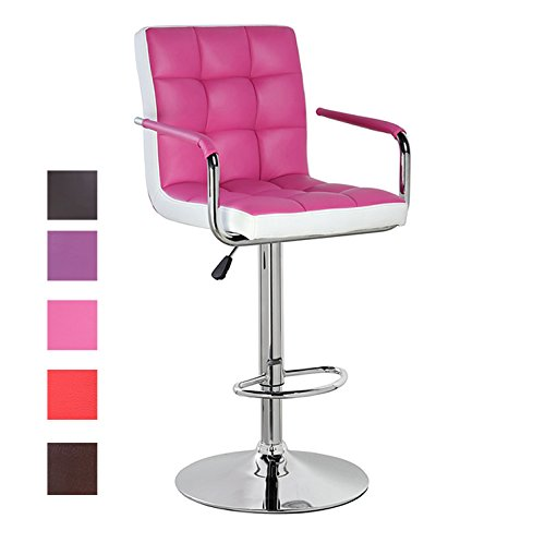 Back Swivel Dining Chair (Modern Leather Contemporary Swivel Adjustable Height Bar Stool with Backs and Arms Dining Bar Chair Pink White)