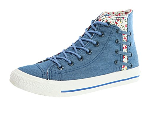 T&Mates Womens Stylish Round Toe Lace-up High Top Flat Sole Canvas Casual Fashion Sneakers (7 B(M) US,Lake Blue) by T&Mates