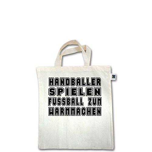 Handball - Handballer Spielen Fußball Zum Warmmachen - Unisize - Natural - XT500 - Fairtrade Henkeltasche / Jutebeutel mit kurzen Henkeln aus Bio-Baumwolle