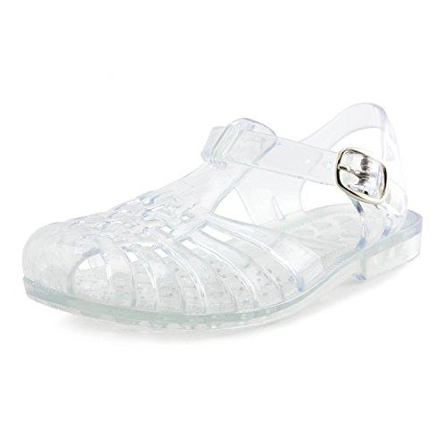 Girls Buckle Closure Slingback Cloused Toe Sandals Clear 1 M US Little Kid