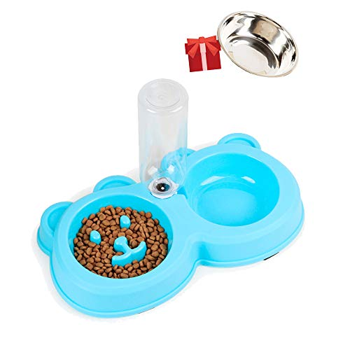 Slow Feed Bowl Dog Cat - Dog Food Container Feeder Bowl with Water Bottle - Automatic Water Bowl for Dogs Prevent Choking Design - Non Skid 2 in 1 Stainless Steel Bowl Gift for Drinking Eating