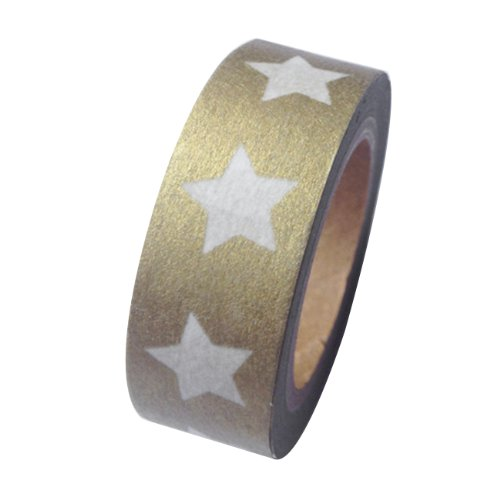 Dress My Cupcake DMC41WTMC582 Washi Decorative Tape for Gifts and Favors, Big White Stars on Gold