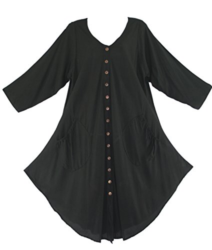 Beautybatik Black Lagenlook Long Sleeve Vest Tunic Top 1X