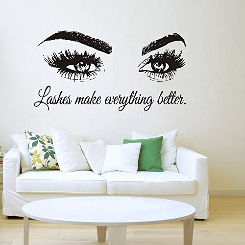 Wall Decal Beauty Salon Quote Sticker Lashes Make everything Better Beautiful Eyes Eyelashes Lashes Extensions Brows Wall Sticker Make Up Wall Window Mural AY1075 (BLACK, 57X103CM) by YOYOYU ART HOME DECOR (Image #1)