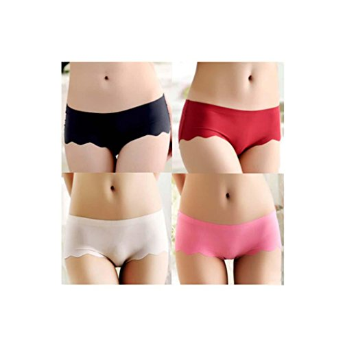 algodón del cordón de la ropa interior pantalones planos de las mujeres paquete de 4 bragas bikini (Todo el código) , f , mean e