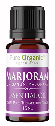 Marjoram Essential Oil (15 ml) by Pure Organic Ingredients, Convenient Dropper Cap Bottle, Calming & Relaxing, Stress Relief, Safe for Cooking ()
