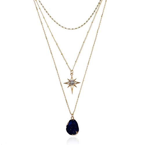 Crystal Vintage Necklace - Vintage Bohemian Statement Long Necklace for Women Gold Plated Star Healing Stone Charms (Black)