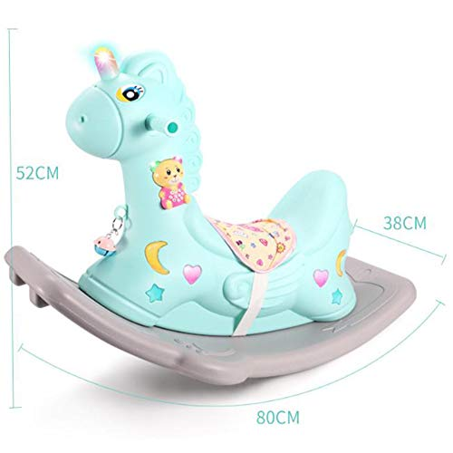 Baby Riding Animal Kid Rocking Horse Blue/Pink,Ride on Toy for 1-3 Year Old, Girl Boy Rocking Animal Outdoor, Nursery/Infant/Child Christmas or Birthday Gift
