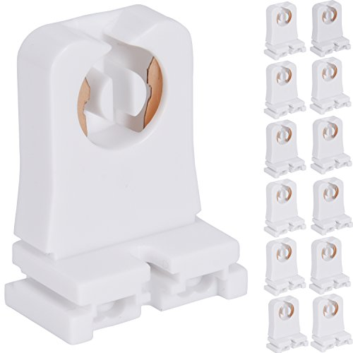 Non-shunted Turn Type T8 Lamp Holder JACKYLED 12-Pack UL Socket Tombstone for LED Fluorescent Tube Replacements Medium Bi-pin Socket for Programmed Start ()