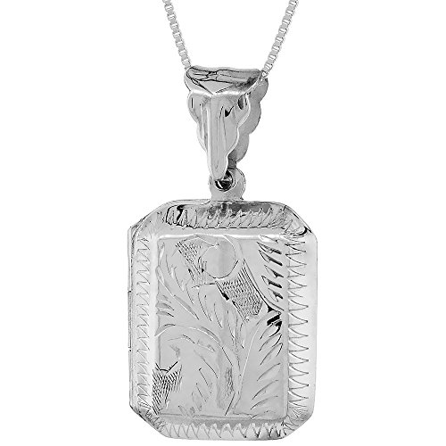Sterling Silver Octagon Locket Pendant / Charm Engraved Handmade, 7/8 - Octagon Locket Engraved