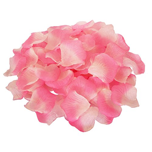 (JUYO VONSAN 2000pcs Rose Petals Odorless Flower Petals Artificial Petals for You Special Wedding (Pink & White))