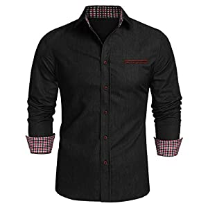 JINIDU Men's Casual Button Down Denim Shirts Long Sleeve Dress Shirt