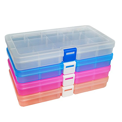 DUOFIRE Plastic Organizer Container Storage Box Adjustable Divider Removable Grid Compartment for Jewelry Beads Earring Container Tool Fishing Hook Small Accessories (15 grids, 4 Colors)]()