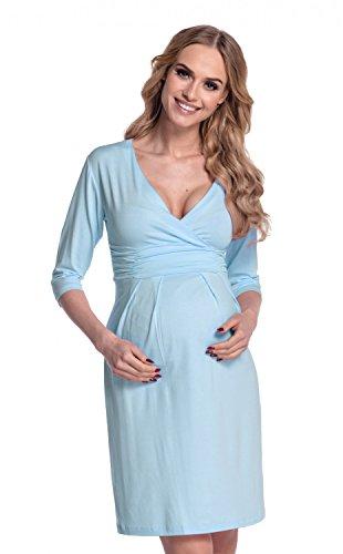 Happy Mama. Mujer. Elegante vestido de maternidad en punto elástico 001p Azul Claro
