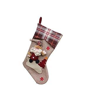New Year Christmas Stockings Socks Plaid Santa Claus Candy Gift Bag Decoration Santa Claus