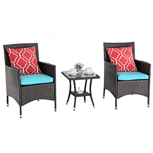 Furnimy 3 Pieces Outdoor Wicker Table and Chairs Set Rattan Patio Furniture Set Expresso with Cushions (Blue)