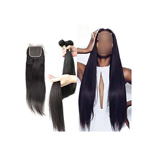 30 Inch 40 Inch Human Hair Bundles with Closure Straight Brazilian Hair Weave Bundles 3 Bundles Hair Extension,28 28 28 & Closure20,China ()