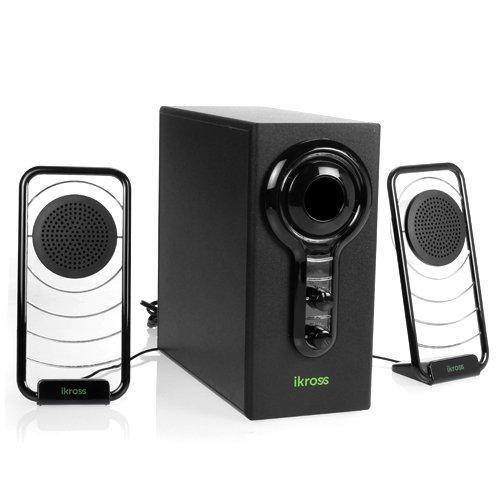 iKross Blue LED Hi-Fidelity 2.1 Satellite Speaker Sound System with Subwoofer