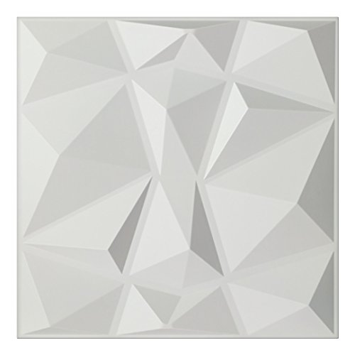 Art3d Textures 3D Wall Panels White Diamond Design Pack of 12 Tiles 32 Sq Ft (PVC) (Wall Modern Tile)