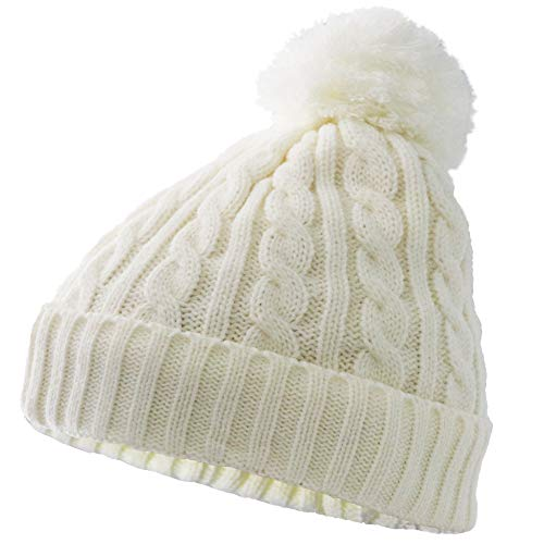 (MeWe Store Woman's Winter Ribbed Knitted Pom Pom Beanie Hat with Soft Fleece Lined White)